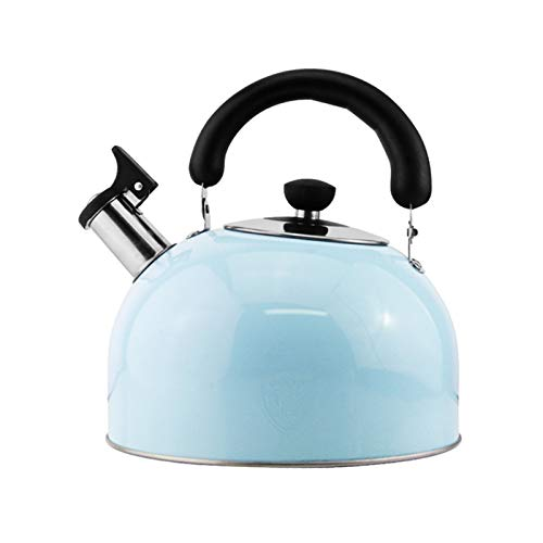 Camping Coffee Pot, Whistle Tea Kettle for Stove Top, Large Capacity 304 Stainless Steel Whistling Tea Kettle with Heat-Resistant Ergonomic Handle (Color : Blue, Size : 4L)