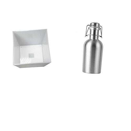 F Fityle Flachmann Edelstahl Hausgebräu Bier Growler Flasche mit LED Deko Lampe Eiswürfelbehälter