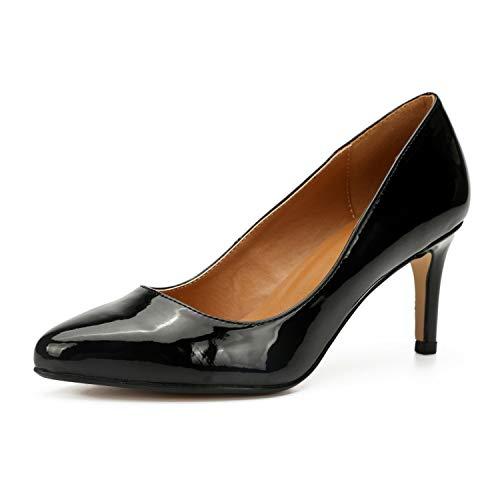 Zapatos de vestir de tacones altos y bajos clásicos para mujer Zapatos de boda de oficina con punta redonda de tacón de gatito de 3,1 pulgadas Zapatos de noche de vestir para mujer Novia,Negro,45