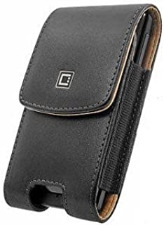 Executive Top Load Stitched Leather Case Pouch with Spring and Swivel Clip Black Compatible with Motorola Droid RAZR MAXX HD