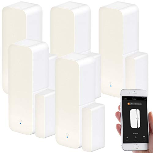 Luminea Home Control Türüberwachung Funk: 5er-Set WLAN-Tür- & Fensteralarm mit App, für Alexa & Google Assistant (Fenstersensor Alexa)
