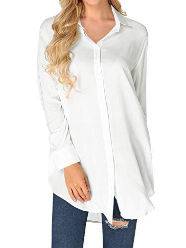 ZANZEA Chiffon-Blusen für Damen, langärmelig, V-Ausschnitt, lockere Knopfleiste, Tunika, Top mit Taschen - - 36
