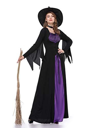 XSQR Halloween Cosplay Mujer Bruja Festival Fantasma Maquillaje Disfraz Púrpura Vestido,Purple,XL