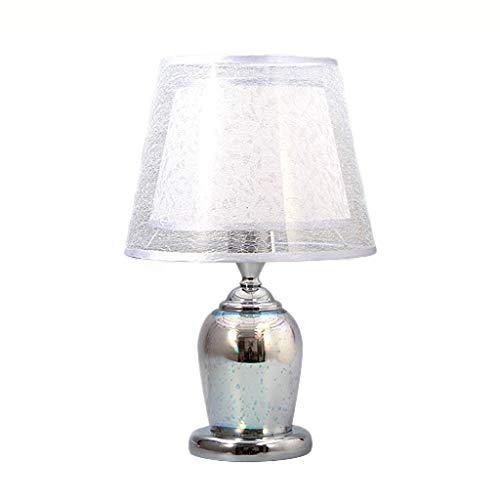 Lampada da Tavolo Moderna Europea in Vetro da Tavolo Lampada da Comodino con Lampada da Tavolo per Soggiorno, Lampada da Tavolo Decorativa in Cristallo (Color : Silver)