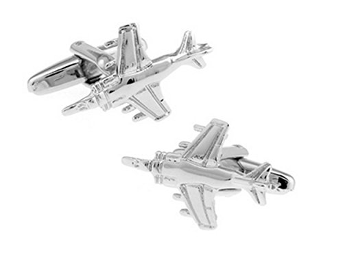 Gudeke Flying Series Military Silver Fighter Bomber Spitfire Cufflinks Boutons de manchette