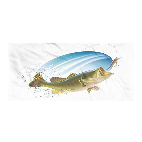 Ambesonne Fishing Gym Towel, Largemouth Sea Bass Catching a Bite in Water Spray Motion Splashing Wild Image, One-Sided Quick Dry Microfiber for Beach Fitness & Swimming, 60