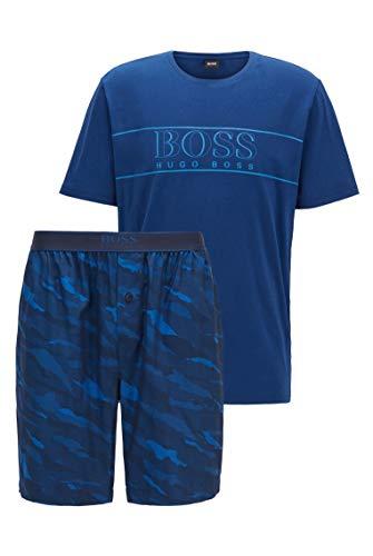 BOSS Herren Urban Short Set Pyjama aus Baumwolle mit Jacquard-Shorts mit Animal-Muster