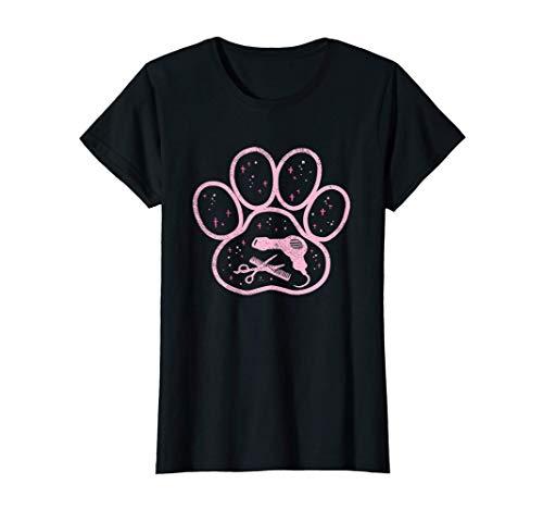 Damen Pfote mit Fön, Kamm und Schere Hundefriseur T-Shirt