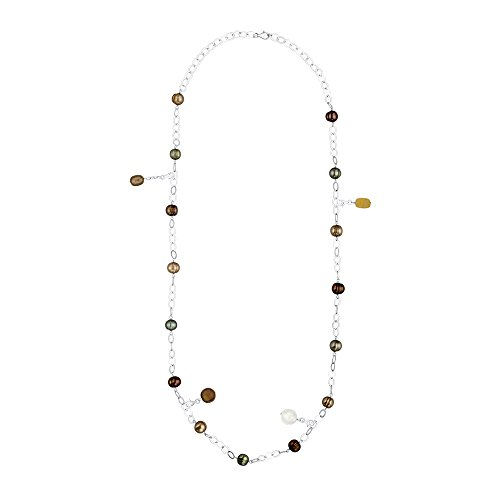 KATARINA Sterling Silver Multicolor Fresh Water Cultured Pearl Necklace with Four Charms