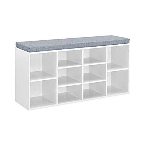 BXU-BG Armario de almacenamiento para zapatos, organizador de armario de pasillo con cojín de asiento para almacenamiento de zapatos, armario, estante (blanco)