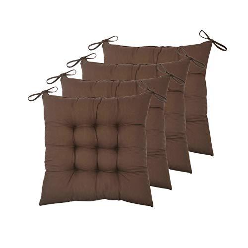 ELFJOY - Juego de 4 Cojines Cuadrados sólidos de 40 x 40 cm para Silla de Interior con Lazos