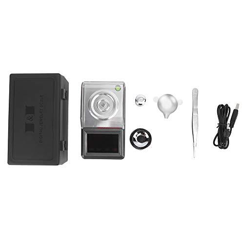 Emoshayoga Básculas Digitales 0.001g / 50g Básculas de Bolsillo electrónicas Mini báscula de joyería con Pantalla LCD Báscula portátil de miligramos con Pinzas de calibración y Pesas