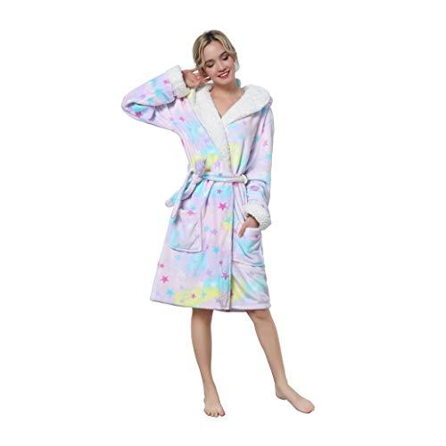 NEWCOSPLAY Adult Unisex Animal Hooded Pajamas Robe Costume (Colorful Unicorn, Large-X-Large)
