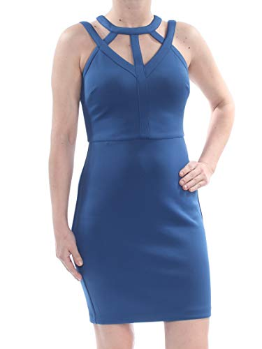 GUESS Women's Caged Sleeveless Mini V-Neck Scuba Dress Blue Size 4