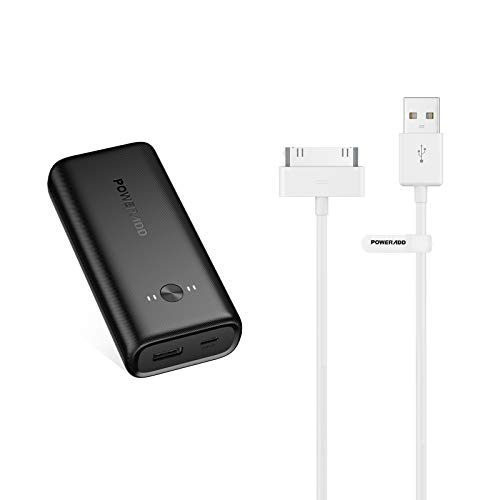 POWERADD Apple Certified iPhone 4 4s 3G 3GS iPad 1 2 3 iPod Touch Nano 30 Pin Charger USB Sync Cable + POWERADD Ultra-Compact Power Bank, EnergyCell 10000 Neo Portable Charger, 10000mAh Battery Pack,