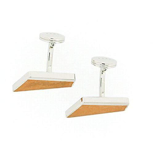 La Olivia Collection CL4004 - Boutons de Manchette en Argent 925 de Forme Diagonale au Design Feuillu Orange