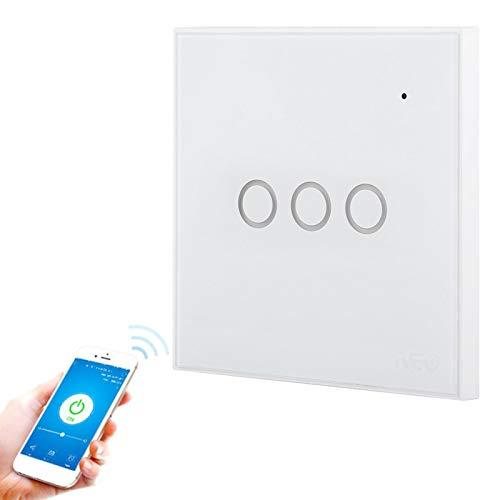 DAUERHAFT Lujo Superior del Interruptor de luz Elegante del Panel de Cristal para el Enchufe de Google Home(3 Way)