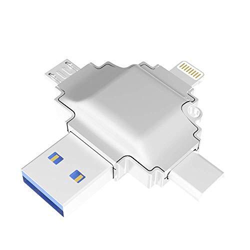 Clé USB Clé USB C Memory Stick Clé USB 4 en 1 Multifonction avec Ports USB Micro USB Type-C pour Smartphone Pad MacBook et Ordinateur Portable (Couleur: Argent Taille: 32G)