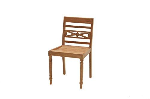 Ploß Ploß Ornamentstuhl Cambridge - Premium Teakholz-Stuhl mit FSC-Zertifikat - Terrassenstuhl - Holz-Gartenstuhl Braun - Gartenstuhl ohne Armlehnen - Outdoor-Holzstuhl für Terrasse, Balkon & Garten