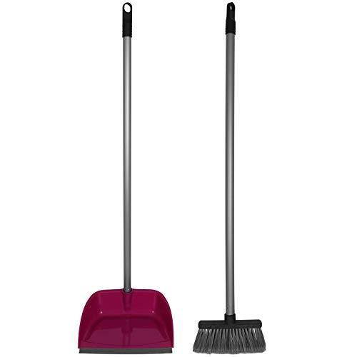 TW24 Kehrgarnitur mit Stiel mit Farbwahl Kehrset Schaufel Besen Stiel Kehrblech Kehrschaufel Set (Pink)