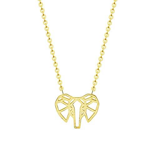 Collar FyaWTM, Joyas Colgante Oro Plata Origami Elefante Colgante Collar Mujeres Hombres Joyas Acero Inoxidable Amuleto de la Suerte Cadena de clavícula Animal Collares