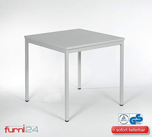 furni24 Schreibtisch Homeoffice Seminartisch 80 cm x 80 cm x 75 cm grau Verschiedene Größen schöner Stabiler PC-Tisch mit viel Beinfreiheiten