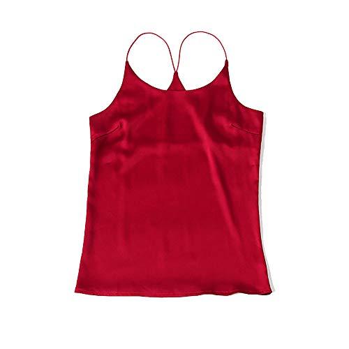 CISULI Camiseta de verano 100% de seda natural para mujer, camiseta deportiva