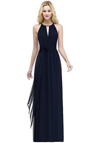 MisShow Damen Neckholder Elegant Abendkleider lang Chiffon Ärmellos Brautjungfern Kleid Navyblau...