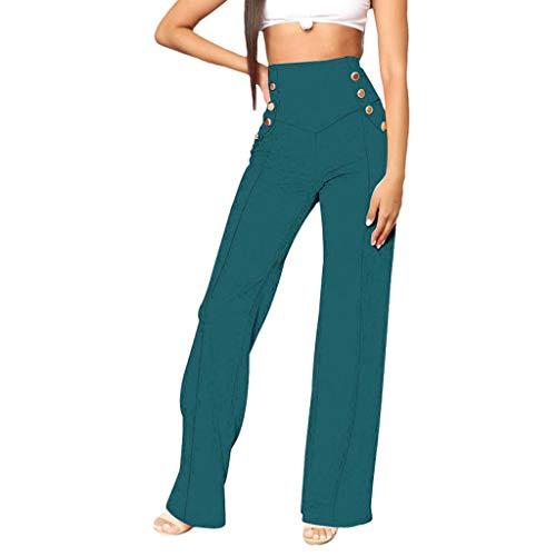 Great Deal! Litetao XL Green 219051 (Floral Prints High Waist Wide Leg Lounge Pants, Women's Comfy S...
