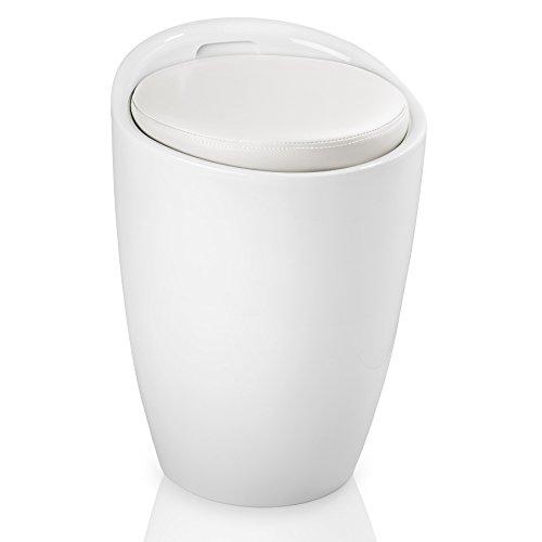 TecTake Taburete de baño Asiento Redondo Moderno Silla Cesta de Ropa con Espacio (Blanco Blanco | No. 402077-3)