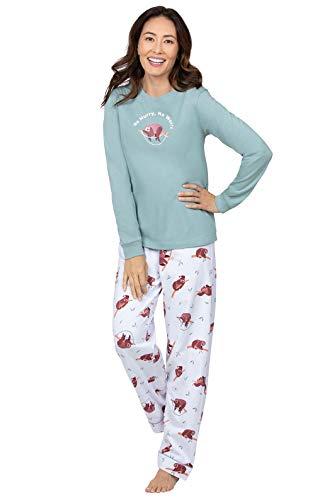 PajamaGram Cute Pajamas for Women - Women's Pajamas, White Sloth, L 12-14