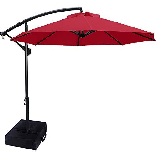 ABCCANOPY 270cm Sonnenschirm im Freien Wasserabweisende Bespannung -Gartenschirm Marktschirm,Rot