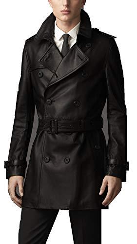 Number Seven Abrigo Gabardina Cuero Hombre Negro (XL)