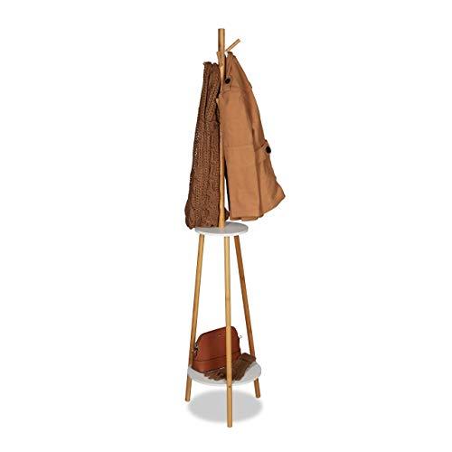 Relaxdays Portemanteau, 8 crochets, 2 étagères, Porte-vestes en bambou et bois MDF, H x D 181 x 37cm, nature/blanc, 181 x 37 x 37 cm