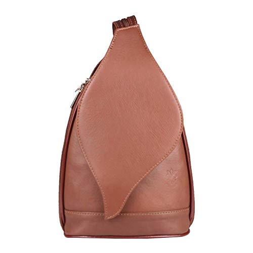 OBC Made in Italy Damen echt Leder Rucksack Lederrucksack Tasche Schultertasche Ledertasche Nappaleder Handtasche (Schokobraun 17x28x9)