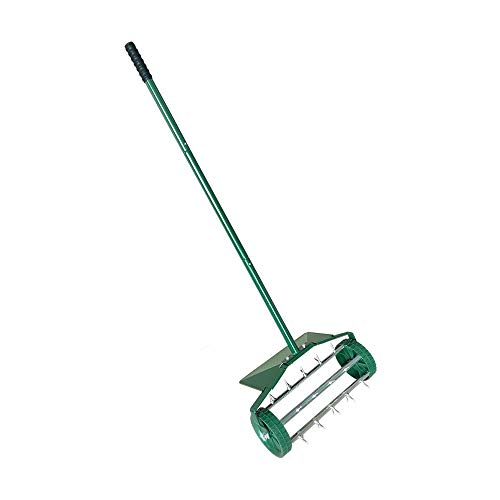 MTB Heavy Duty 18 Inch Aerator Roller Rolling Lawn Garden Spike with Fender Lawn Aerator Home Grass Steel Handle Green Quick and Easy to Assemble