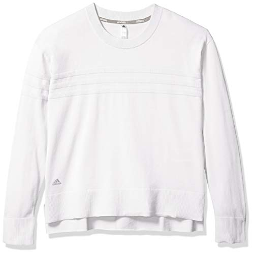 adidas 3-Stripes Sweater Felpa a Girocollo, Bianco, L Donna