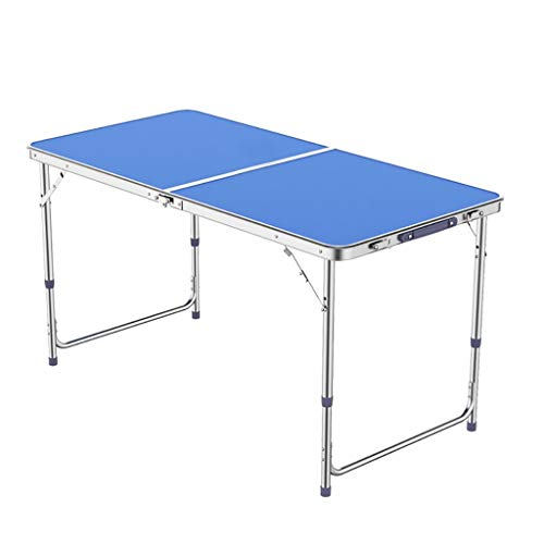 Table Pliante portative de 4FT 1.2M Ajustement 3-Vitesse 70/60 / 55cm approprié au Barbecue de Partie de Jardin d'intérieur et extérieure -LJ Jing Shop (Couleur : Blue-1)