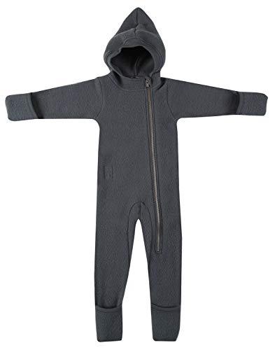 Dilling Overall für Babys aus Wollfleece - 100% Merinowolle Dunkelgrau 92
