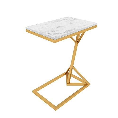 Tables HAIZHEN Pliable d'appoint en marbre Petite Basse en Fer forgé, de canapé Multifonction en Forme de C, Noir, Or, Blanc (45 * 30 * 58cm) Stations de Travail informatiques