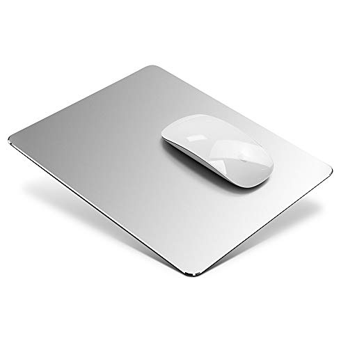 Hard Metal Aluminum Mouse Pad Mat Smooth Magic Ultra Thin Double Side Mousepad Waterproof Fast and Accurate Control Mice Mat for Gaming and Office (Silver)