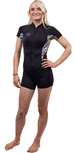 O';Neill Dames Bahia 2/1mm Shorty Wetsuit met Front Zip - Zwart Baylen - Easy Stretch - 2/1mm dikte