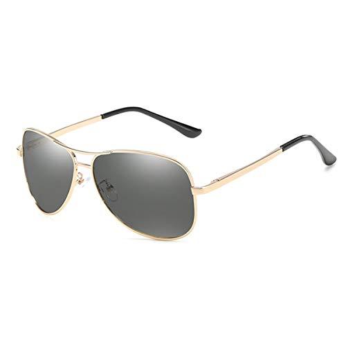 Hengtaichang Sunglasses NEW Photochromic Sunglasses Men Polarized Chameleon Discoloration Driving Aviation Sun Glasses For Men Gold Discoloration