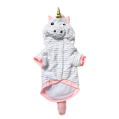 POPETPOP Disfraz de Perro Unicornio-Disfraz de Mascota de Unicornio de Halloween Camisa de Unicornio Mono de Pijama Lindo con Capucha Ropa de Perro Adorable Suministros para Mascotas-Talla m