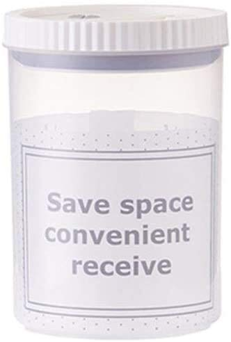 SLZFLSSHPK tarro hermetico Caja de almacenamiento con tapa redonda de plástico transparente de almacenamiento de alimentos Canastillo Frascos Cajas Contenedores tinas tornillo superior ( Size : 1L )
