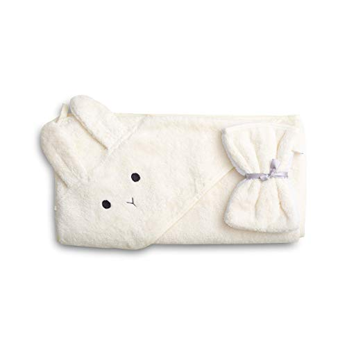 saewelo asciugamano per neonati e bambini con cappuccio e panni da bagno | 100% cotone biologico e Oeko-Tex | Prodotto in Europa | 100 x 100 cm | Naturale