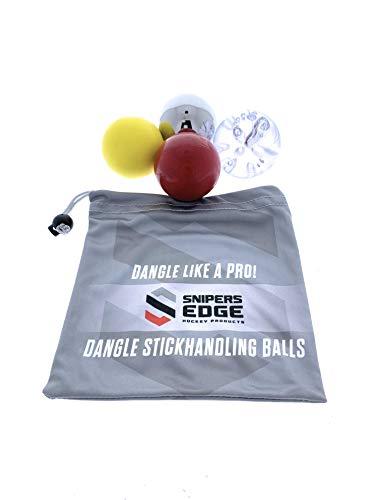 Snipers Edge Hockey Dangle Balls Set (Skillz/Ice/Speed/Muscle) | Includes Bonus Bag | Improve Stick Handling ON & Off The Ice