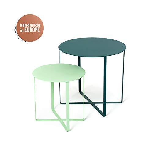 KAUTSCH 2er Beistelltisch Set aus Metall für Sofa Balkon Terrasse Grill Pflanzen - Couchtisch modern rund - Outdoor Coffee Side Table - Urban Jungle - grün