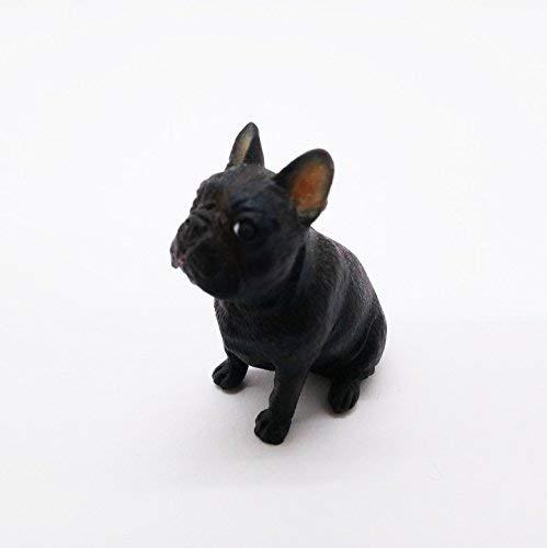 1' Tall Miniature Black Bulldog Figurine Realistic Collectibles Resin Bull Dog Statue Hand Painted Polyresin Figure Decor