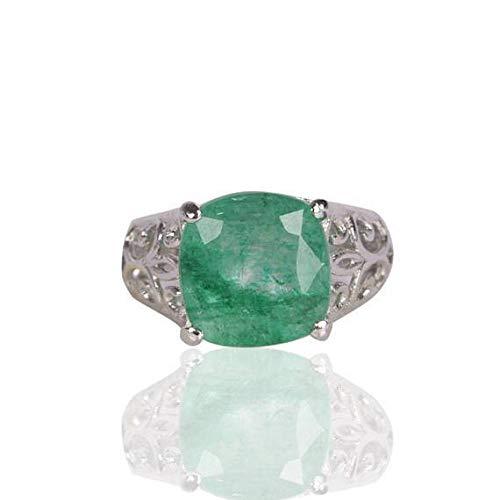 Anillo de plata esmeralda verde natural 7-12 ct joyería esmeralda verde colombiana elegante del anillo de la plata esterlina 925 más fina para el regalo